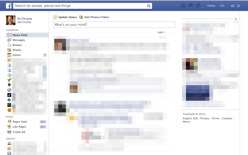 new Facebook design 2013
